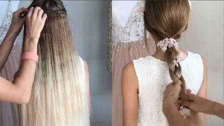 Aggiunge le extension ai capelli della bambina: realizza un'acconciatura magnifica
