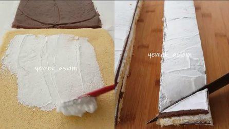 Farcisce il pan di spagna con la panna e gli dà una forma particolare: un dolce golosissimo