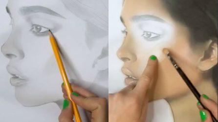 Usa la ragazza disegnata come modella: quello che realizza è speciale