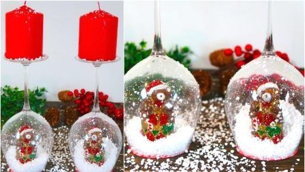 How to make a wine glass snow globe candle holder for Christmas!