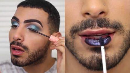 Colori appariscenti su occhi e labbra: un effetto finale che non passa inosservato