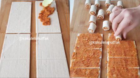 Farcisce e arrotola la pasta sfoglia: una ricetta veloce e buonissima
