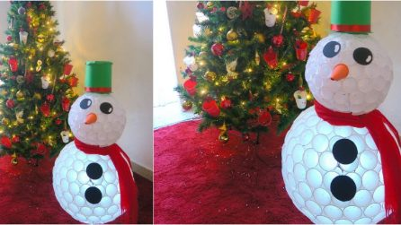 How to make a snowman with recycled plastic cups
