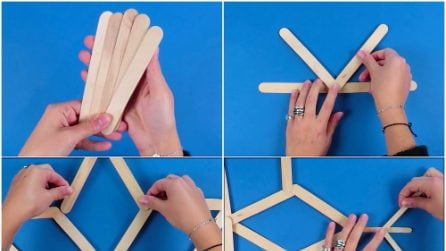 Come fare un fiocco di neve con i bastoncini di legno