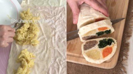 Rotolo di pasta fillo con ripieno goloso e colorato: l'idea per una cenetta sfiziosa