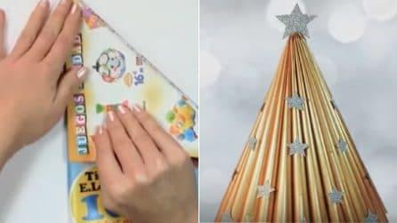 Ricicla vecchi volantini e realizza un mini albero: una splendida decorazione natalizia fai da te