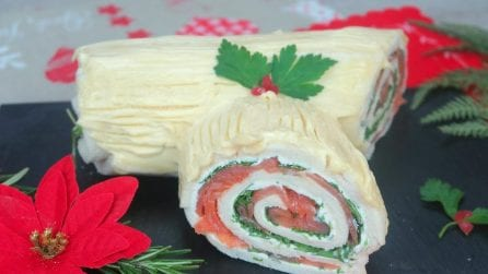 Tronchetto salato di Natale: vi basteranno delle fette di pancarré!