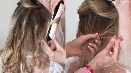 """Arriccia i capelli poi li lega con l'elastico """"invisibile"""": l'effetto finale è stupendo"""