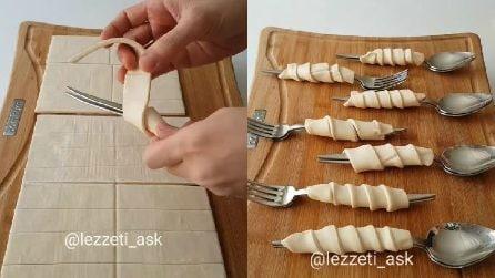 Arrotola la pasta sfoglia alle posate e prepara dei dolcetti squisiti