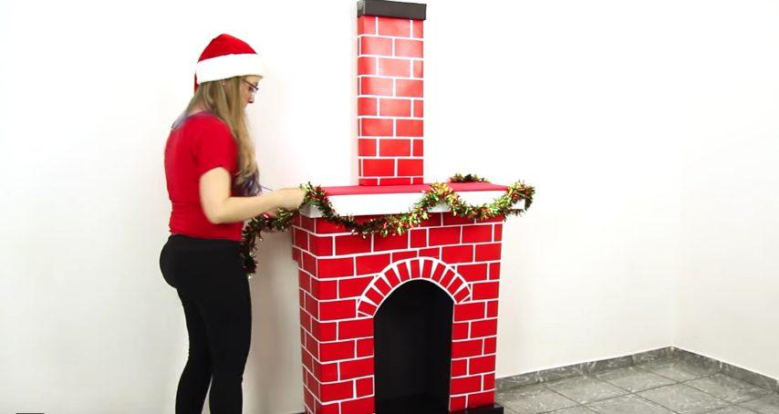 Come costruire un camino natalizio con le scatole di for Camino finto fai da te natale