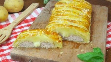 Strudel salato con patate e carne: ogni morso sarà una goduria!