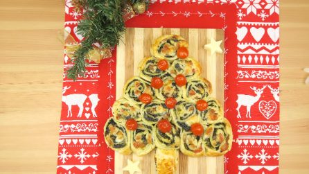 Sausage and rapini roll-ups tree: a lovely, and edible, centerpiece!
