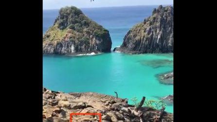"""Filma il panorama mozzafiato, ma tra le rocce si nasconde un """"intruso"""""""