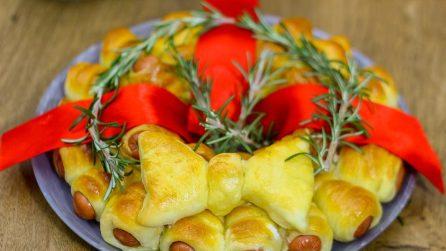 Corona di würstel: la ghirlanda natalizia tutta da mangiare!