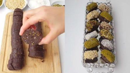 Taglia il salame al cioccolato e prepara un delizioso dessert