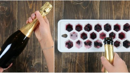 Pour champagne into the ice cube tray: a cool New Year's Eve idea