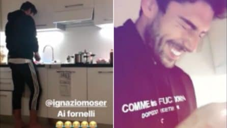 """Ignazio Moser """"piange"""" ai fornelli: taglia la cipolla e cucina per la sua Cecilia"""