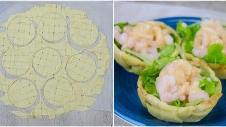 Cestini di insalata e gamberetti: l'antipasto sfizioso pronto in pochi minuti!