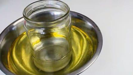 Come tagliare il barattolo di vetro con l'olio