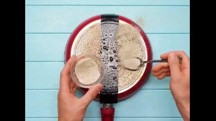 Come rimuovere lo sporco depositato sul retro delle padelle