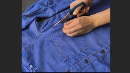 Taglia una vecchia camicia di jeans e la ricicla in maniera originale