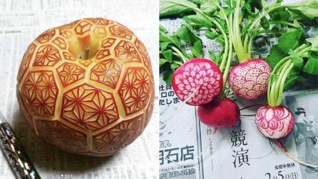 """Trasforma frutta e verdura in opere d'arte: le straordinarie """"sculture alimentari"""" di Gaku"""