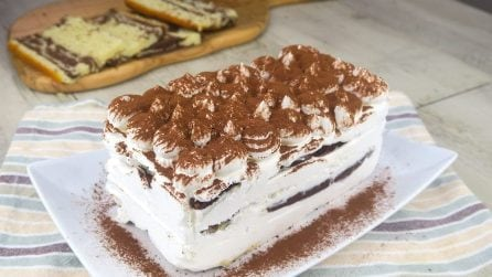 Coffee ice-cream cake: pour the cream into an empty milk carton!