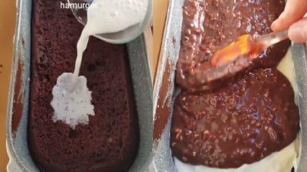 Versa il latte sul plumcake e poi lo ricopre con cioccolato e nocciole: una ricetta golosissima