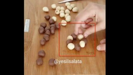 Unisce 4 palline di impasto e 4 palline di cacao: la ricetta è deliziosa