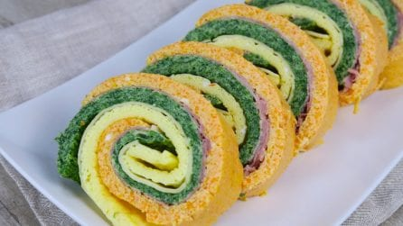 Tricolor frittata roulade: a colorful and tasty recipe that will leave your dinner guests speechless