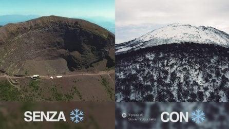 Il Vesuvio prima e dopo la neve. Una danza tra sole e ghiaccio come non l'avete mai vista