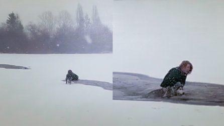 Donna eroina si tuffa nel lago ghiacciato per salvare il cane che sta annegando