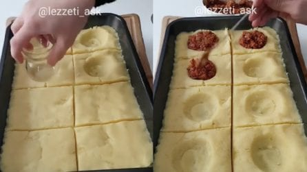 Schiaccia le patate con un bicchiere e poi farcisce con la carne: un piatto squisito