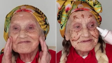 Sua nonna ha più di 80 anni: la trucca e in pochi minuti realizza una splendida trasformazione