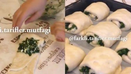 Avvolge gli spinaci nell'impasto e prepara un piatto speciale