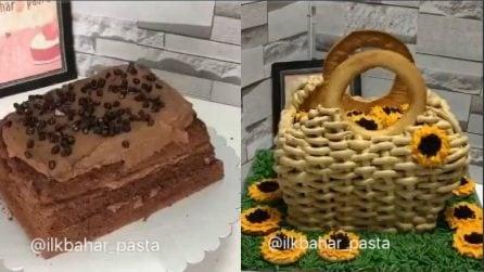 Farcisce e taglia la torta e realizza una decorazione bellissima