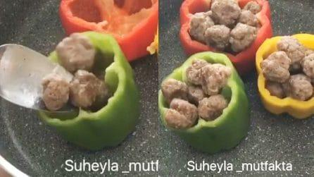 Prepara le polpette e farcisce i peperoni: un piatto da leccarsi i baffi