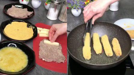 Avvolge il formaggio nella carne e poi la frigge: un secondo piatto veloce e saporito