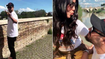 Paola di Benedetto e Francesco Monte insieme a Roma: passeggiata romantica a Ponte Milvio