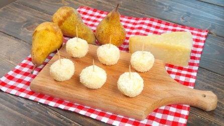 Bite-sized parmesan pears