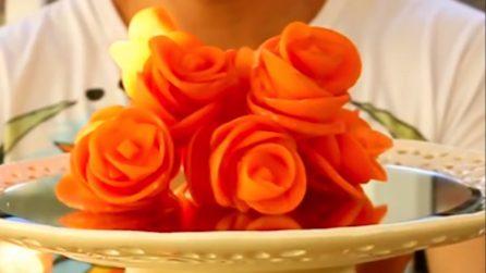 Carote a forma di rosa: come preparare delle simpatiche decorazioni in tavola