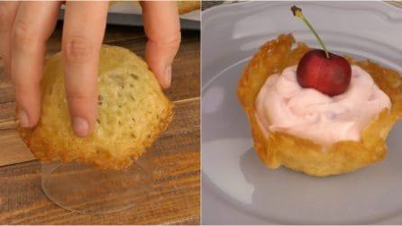 Cestini di zucchero: l'idea originale per servire il dessert!