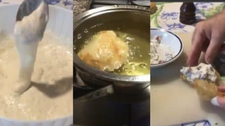 Frittelle di pasta cresciuta con ripieno: una tira l'altra