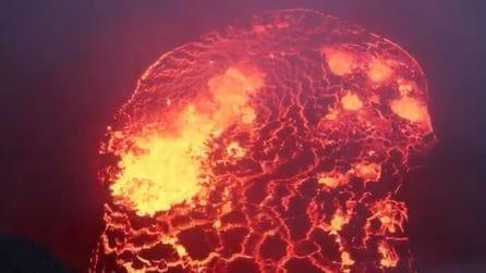 Un drone all'interno del cratere del vulcano Kilauea: le impressionanti immagini