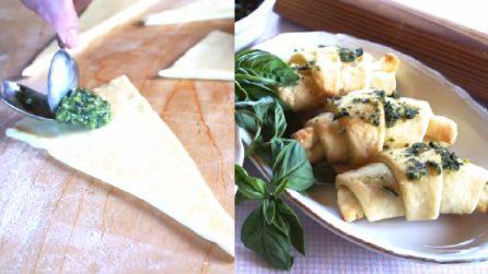 Cornetti al pesto: perfetti per antipasti o aperitivi