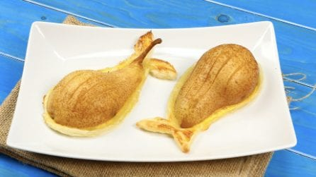 Oven baked pears with puff pastry