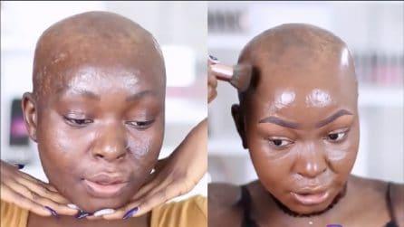Sul volto i segni di un terribile incendio: ecco la stupenda trasformazione con il make up