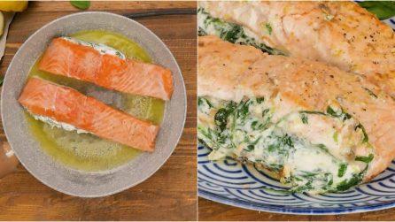 Salmone ripieno di ricotta e spinaci: la ricetta facile e veloce che conquisterà ogni palato!