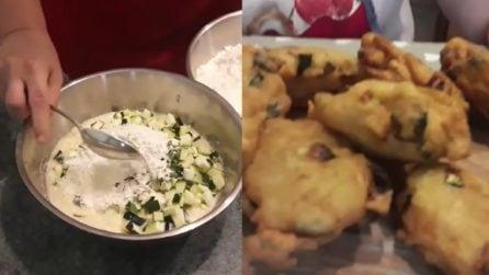 Mescola tutti gli ingredienti e prepara gustose frittelle di zucchine