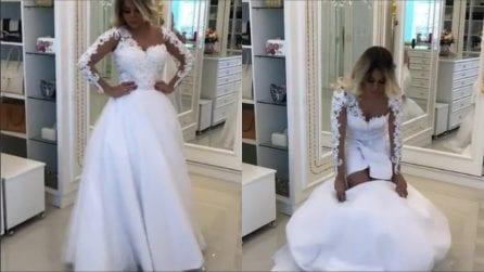 Rimuove la gonna al suo abito da sposa: la trasformazione del vestito è incredibile